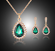 Набор украшений Симпатичные Стиль Драгоценный камень Свисающие Зеленый Для Для вечеринок Свадебные подарки