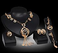Lucky Doll Women's Luxury Gem 18K Gold Plated Zirconia Necklace & Earrings & Bracelet & Ring Jewelry Sets