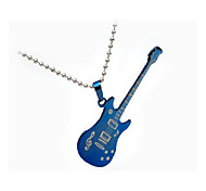 Fashion Men'S Blue Titanium Steel Guitar Pendant Necklace