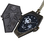 Fashion US Pray skeleton Shape Vintage Alloy Quartz Analog Pocket Watch With Chains - Bronze (1 x LR626)