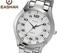 EASMAN Men's Classical White Sapphire Dial Round Shape Stainless Steel Quartz Wristwatch