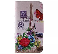 Flower And The Eiffel Tower Pattern Phone Leather For Samsung Galaxy J5