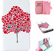 Red Tree Pattern Flip Card Leather Phone Case for Wiko LENNY