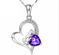 Valentines Sterling Silver Fashion Amethyst Pendant Short Paragraph Clavicle Chain