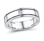 Men's Classic Sterling Silver set with Cubic Zirconia Band Ring