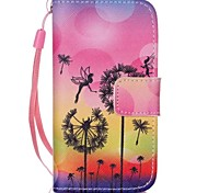 Black Dandelion Painted PU Phone Case for iphone4/4S