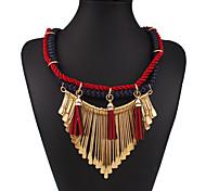 Women's Fashion Woven Weaving Tassel Statement Necklace