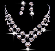 Lucky Doll Women's 925 Silver Plated Double Man Made Pearl Zirconia Long Tassel Necklace & Earrings Jewelry Sets