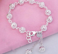 Sterling Silver Fashion Delicate Hollow Ball Bracelet
