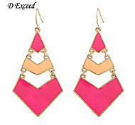 D Exceed Women New Alloy Gold Filled Enameled Drop Earrings for Party Red Yellow Color Block Earing Free Shipping