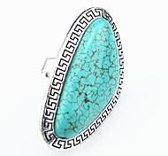 Vintage Look Antique Silver Big Irregular Turquoise Stone Adjustable Free Size Ring(1PC)