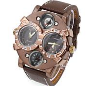 Men's Fashion Double Time Zones Leather Quartz Watch