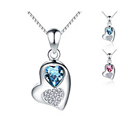 """Jazlyn® Platinum Plated 925 Sterling Silver Swaroski Elements Crystal """"Loving Heart""""Box Chain Pendant Women's Necklace"""