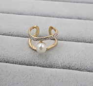 Fashion Women Stone And Pearl Set Adjustable Ring