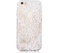 branco padrão de lótus transparente textura do material TPU para iphone 6 / 6s bf
