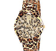 Women's Leopard Print Pattern Diamond Case Gold Alloy Band Quartz Wrist Watch Gift Idea Cool Watches Unique Watches