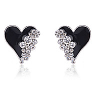 Stud Earrings Crystal Gold Plated Simulated Diamond Heart Fashion Heart White Black Jewelry Party Daily Casual 2pcs