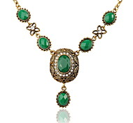 Court Oval Gemstone Pendant Necklace Women Jewelry