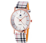 Jijia Golden Case Women Quartz Watch with Plaid Leather Strap Wrist Watch Cool Watches Unique Watches
