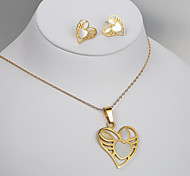 European and American fashion gold titanium steel hollow Earrings Necklace Set