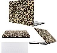 """2 em 1 leopardo marrom tampa da caixa de plástico rígido para MacBook Pro 13 """"/ 15"""", com tampa do teclado transparente"""