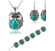 Hot 3 Color  Fashion Turquoise Owl Pendant Necklace Owl Drop Earring Bracelet Jewelry Set