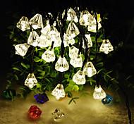 nuovi 6.5m prodotto a forma di diamante 30led solari luci stringa arredamento casa natale (30led-bianco caldo)