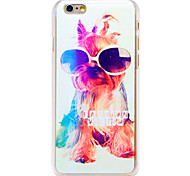 Fashion Sunglasses Doggy Pattern Transparent PC Back Cover for iPhone 6 Plus