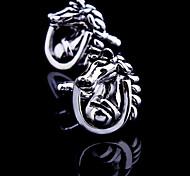 Fashion Copper Men Jewelry Silver Animal Horse Design Delicate Button Cufflinks(1Pair)