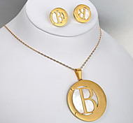 Europeus e americanos de moda de titânio aço b dupla brincos de ouro conjunto de colar