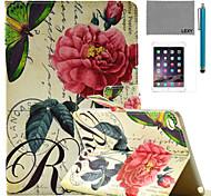 lexy® China aumentó patrón sello de la PU del caso del soporte del tirón del cuero con protector de pantalla y el stylus para iPad mini 4