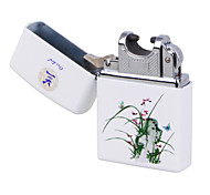 Blue & White Porcelain ARC Pulse Charging USB Lighter Ultra Thin Windproof Electronic Cigarette Lighter Orchid&White