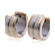 European Style Fashion Men'S Titanium Steel Golden Edges Silver Earrings