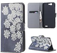 la floraison des fleurs en cuir magnétique cas de couverture de livre portefeuille de sac à main pour Huawei Ascend bascule g7