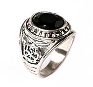 Punk Carved Gemstone Silver Black Rings  Retro
