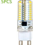 5 pcs G9 6W 72 SMD 3014 580 LM Warm White / Cool White T Decorative Bi-pin Lights AC 220-240 V