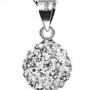 Silver Crystal Ball Diamond Pendant Retro Necklace