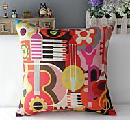 "43cm*43cm 17""*17"" Music Cotton / Linen Cotton&linen Pillow Cover / Throw Pillow With No Insert"