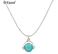 D exceed  Cute Girl Necklace Long Sweater Chain Blue Round Smile Sign Pendant Necklaces