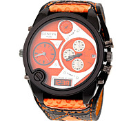 Men's Double Time Sport Design PU Band Quartz Watch Cool Watch Unique Watch