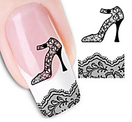 Water Transfer Printing lace High-Heeled Shoes Nail Stickers