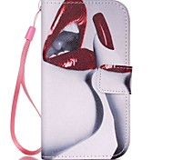Red Lip Pattern PU Leather Material Flip Card  for Samsung Galaxy Grand Prime/ Core Prime