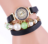 2015 Fashion Dress Rose Gold RhinestoneWomen Leather Bracelet Watches