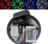 wasserdichte 5m 300x3528 SMD RGB LED-Streifen und 24key Fernbedienung und 3a eu uns uk au Netzteil (AC110-240V)