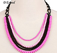 D exceed  Fashion Multi Layer Pink & blue Ball Beads Necklace Pendant for Women Hot Sales Free Shipping