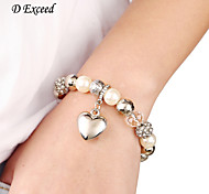 D Exceed Fashion White Beads Rhinestone Pearl Bracelets for Women Elastic Charm Bracelets Bangles with Heart Pendant