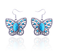 Vintage Style Turquoise And Rhinestone Butterfly Earring