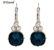 D Exceed Women Blue Topaz Ladies Earrings Fashion Suare Shape Silver Plated with Dark Blue Clear Crystal Hoop Earrings