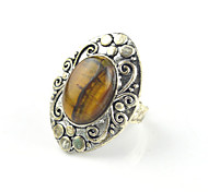 Vintage Antique Silver Agate Turquoise Amethyst Tiger Stone Adjustable Free Size Ring(1PC)