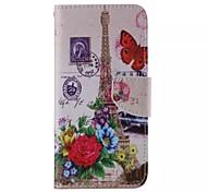 Blume und der Eiffelturm-Muster Handy Leder für Samsung Galaxy Note 5